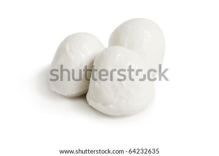 Fresh mozzarella on a white background - stock photo