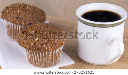 fresh muffins and coffee - stock photo