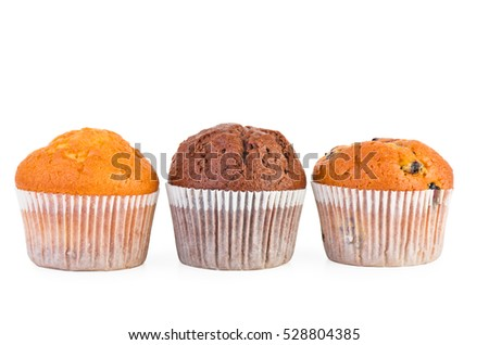 Fresh muffins with jam,raisins and chocolate isolated on white background