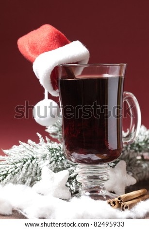 fresh mulled wine for christmas - stock photo