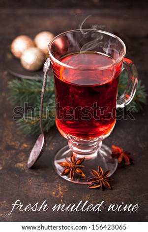 fresh mulled wine with steam - stock photo