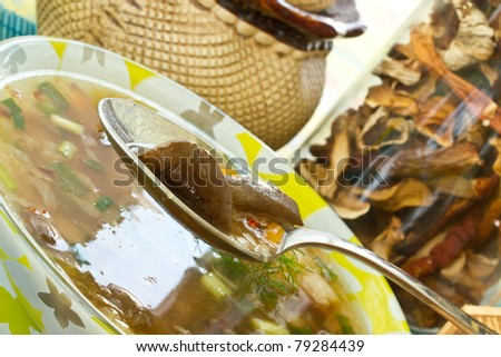 fresh mushroom soup in a bowl