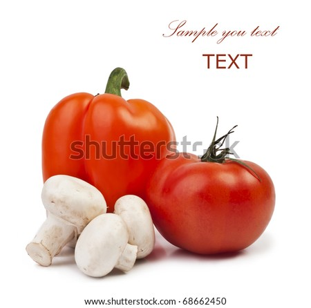 fresh mushrooms peppers and tomatoes on a white background with space for text - stock photo
