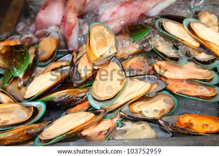 Fresh mussel  ready for cooking - stock photo