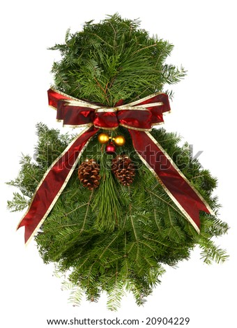 Fresh Natural Christmas Wreath on Isolated Background - stock photo