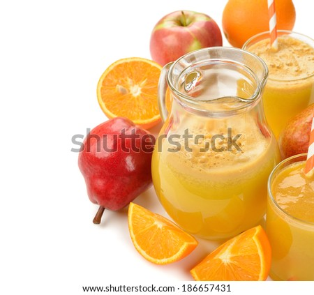 Fresh natural fruit juice on white background