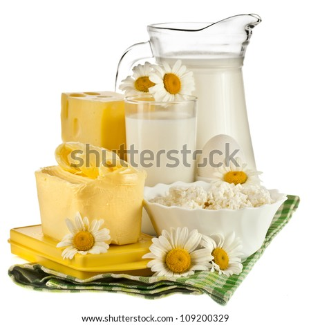 fresh natural milk dairy products isolated on white background - stock photo