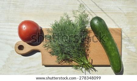 fresh, natural, organic cucumber, tomato, fennel, spinach, lettuce - stock photo