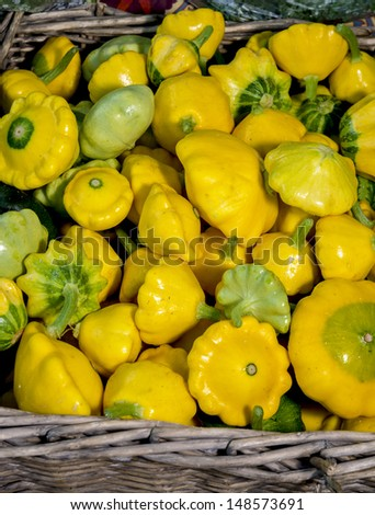 Fresh natural Small Yellow Squash ripe and ready to eat - stock photo