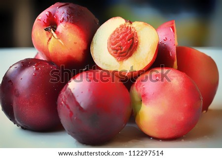 Fresh nectarines on a table