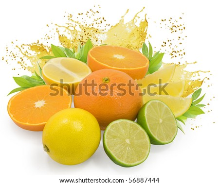 fresh nice citrus fruits with leaves and juice drops isolated on white - stock photo