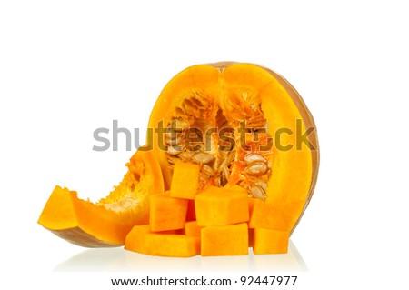 Fresh nice pumpkin isolated on white background - stock photo