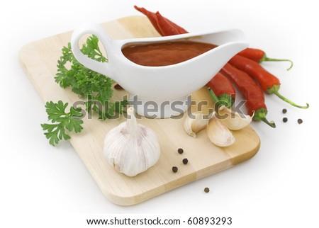 fresh nice sauce ingredients isolated on white - stock photo