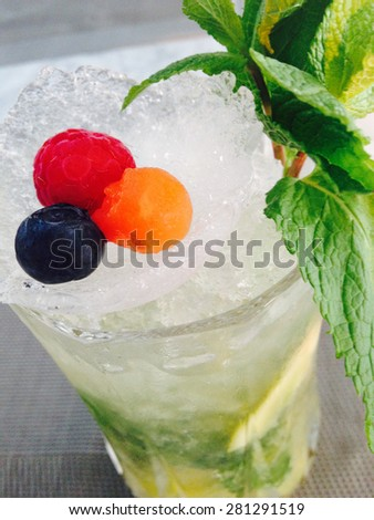 Fresh non alcoholic coctail. Image made by smartphone - stock photo