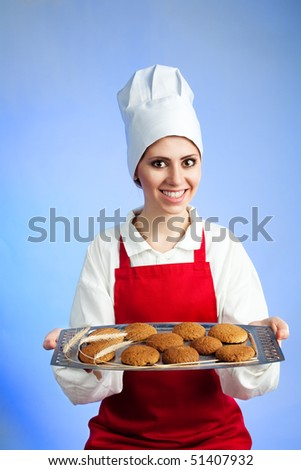 Fresh oat biscuits  offered by chef on a tray - stock photo