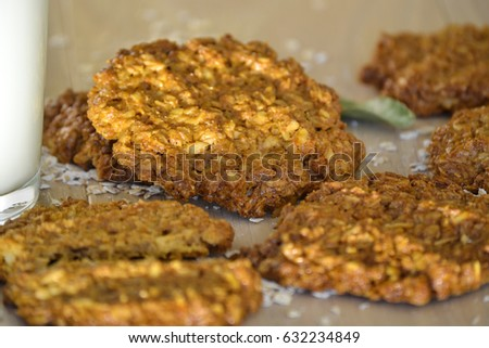 Fresh oatmeal cookies with milk
