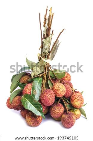 Fresh of litchi fruit isolated on white - stock photo