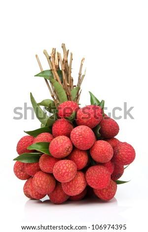 Fresh of litchi fruit isolated on white background - stock photo