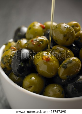 Fresh Olives in a Bowl - stock photo