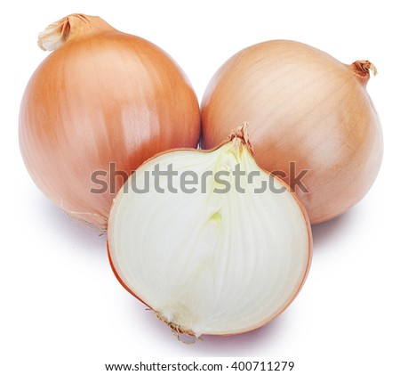 Fresh onion bulbs isolated on white background. Clipping Path