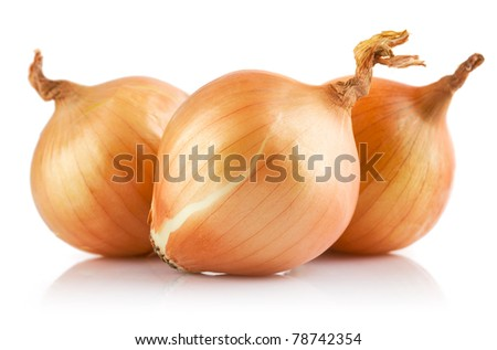 fresh onions vegetables isolated on white background - stock photo