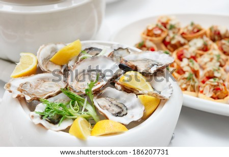 Fresh opened oysters on plate - stock photo