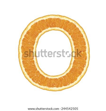 Fresh Orange alphabet isolated on white background (letter O) - stock photo