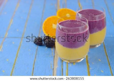 Fresh Orange Blackberry Smoothie - stock photo