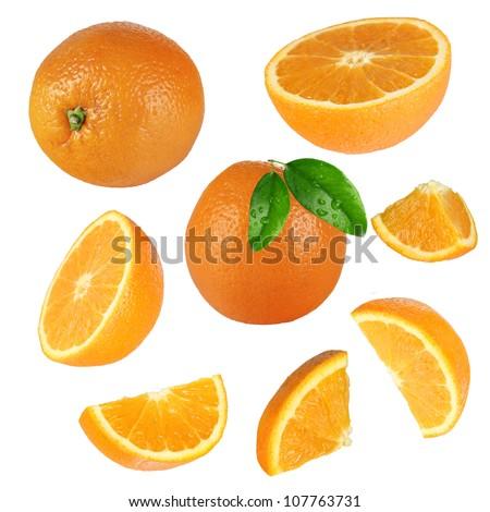 Fresh orange collection over white background - stock photo