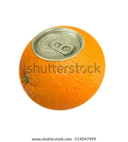 Fresh orange fruit with cover of aluminum cans isolated on white background, concept.