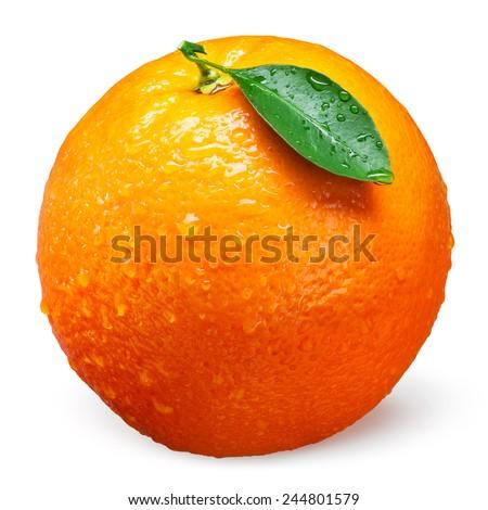 Fresh orange fruit with drops isolated on white - stock photo