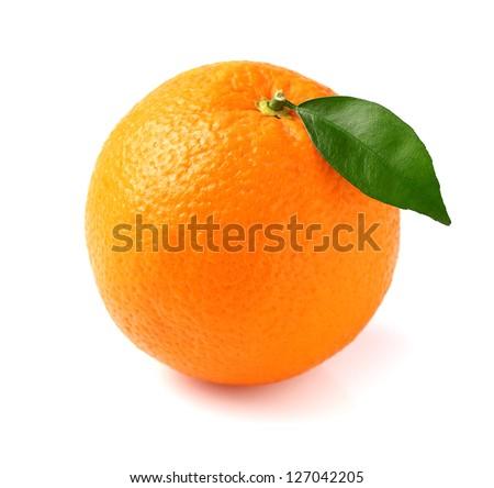 Fresh orange fruit with leaf - stock photo