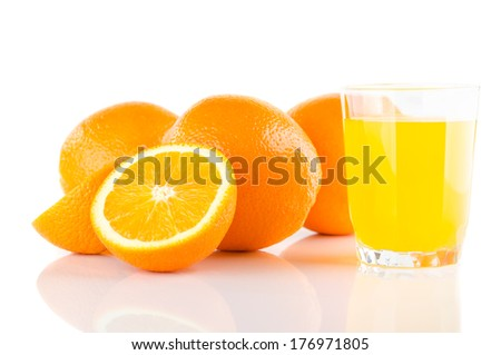 fresh orange fruits and juice isolated on white background