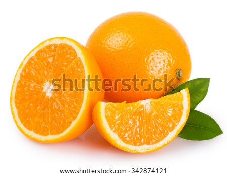 fresh orange isolated on white background - stock photo