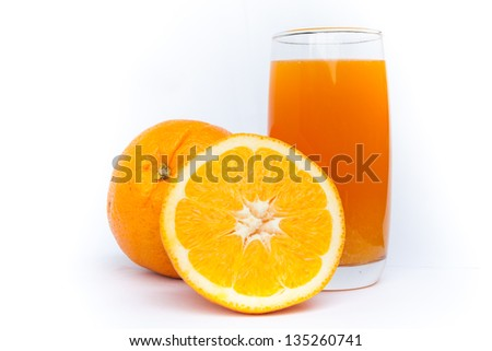 Fresh orange juice glass and fruit