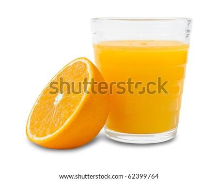 Fresh orange juice glass with fruit - stock photo