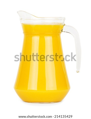 Fresh orange juice in pitcher on white background - stock photo
