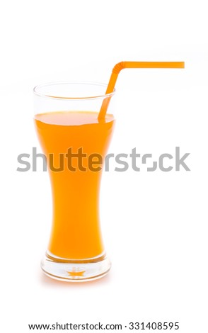 fresh orange juice isolated on white background - stock photo