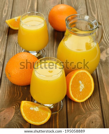 Fresh orange juice on brown background