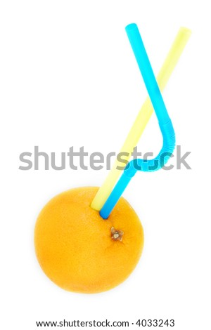 fresh orange juice,orange with two straws.