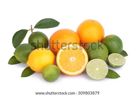fresh orange,lemon and citrus fruits isolate on white background - stock photo