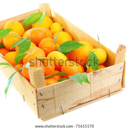 Fresh orange mandarins box,fruits  isolated on white background, concept of harvest & healthy eating concept - stock photo