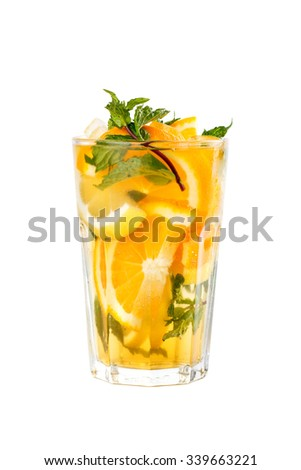 Fresh Orange Mojito over white background