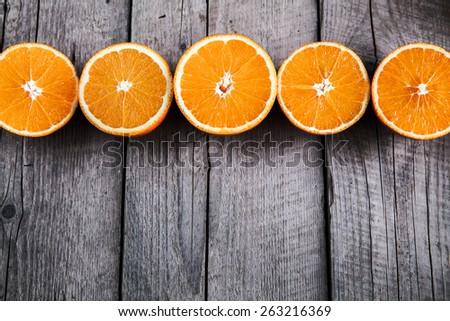 fresh, orange on  a wooden background. fruit - stock photo