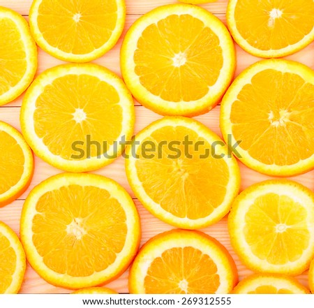 fresh, orange on a wooden background (seen from above) - stock photo