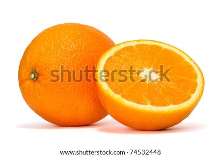 fresh orange over white background - stock photo