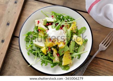 fresh orange salad with cream, top view - stock photo