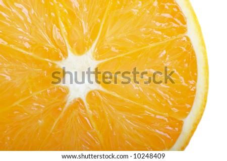 Fresh orange slide closeup isolated on white - stock photo
