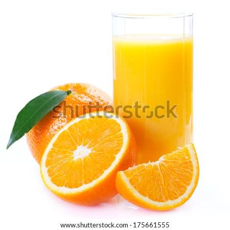 fresh orange with juice on white background - stock photo