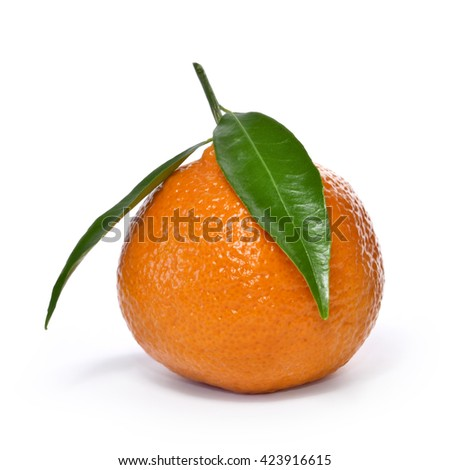 Fresh orange with leaf, isolated on white background.